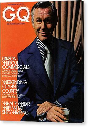 Gq Cover Of Johnny Carson Wearing Suit Canvas Print by Bruce Bacon
