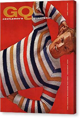 Gq Cover Of Man Wearing Striped Sweater Canvas Print
