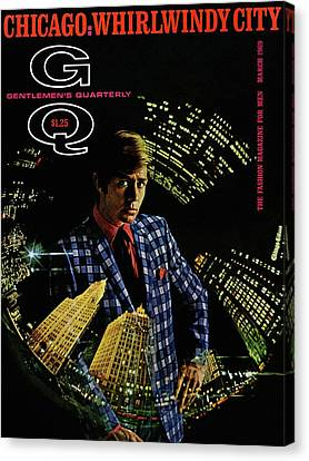 Gq Cover Of Model Wearing A Louis Roth Jacket Canvas Print by Leonard Nones