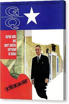 Gq Cover Of President Lyndon B. Johnson Canvas Print by Leonard Nones