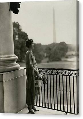 Grace Coolidge By The Washington Monument Canvas Print by Nickolas Muray