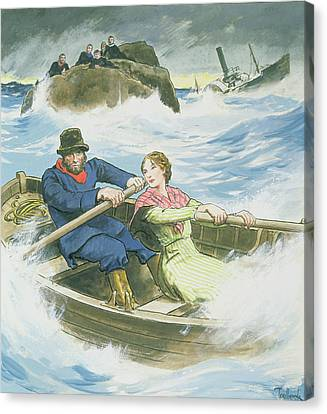 Grace Darling And Her Father Rescuing Canvas Print by Trelleek