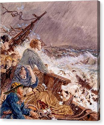 Stormy Canvas Print - Grace Darling And Her Father Saving by William Bell Scott