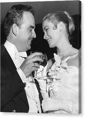 Grace Kelly Toasts With Husband Canvas Print