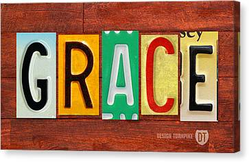 Grace License Plate Name Sign Fun Kid Room Decor. Canvas Print by Design Turnpike
