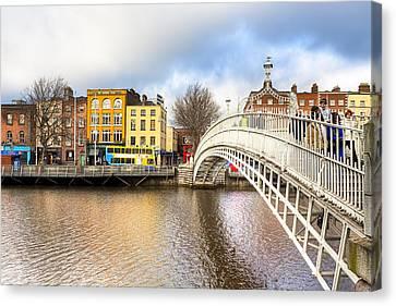 Graceful Ha'penny Bridge Over River Liffey Canvas Print by Mark E Tisdale