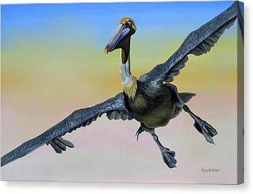 Canvas Print featuring the painting Graceful Landing by Phyllis Beiser