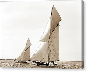 Gracie And Barbara, Goelet Cup Race, Gracie Yacht Canvas Print by Litz Collection