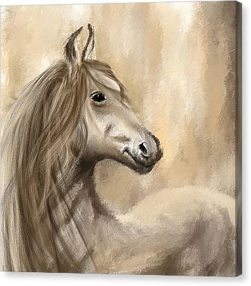 Horse Lover Canvas Print - Gracious Wild- Cream And Brown Painting by Lourry Legarde