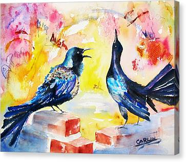 Grackles And Graffiti  Canvas Print by Carlin Blahnik