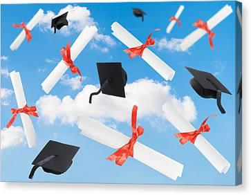Graduation Caps And Scrolls Canvas Print by Amanda Elwell