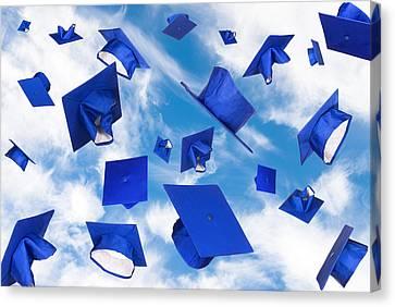 Graduation Caps In Flight Canvas Print