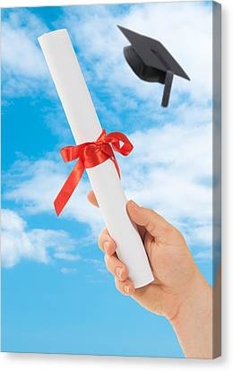 Graduation Scoll And Cap Canvas Print by Amanda Elwell