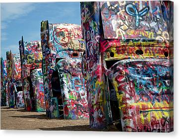 Graffiti At The Cadillac Ranch Amarillo Texas Canvas Print by Mary Lee Dereske