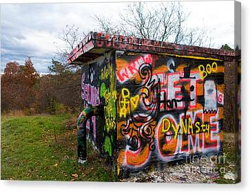 Hut Canvas Print - Graffiti Covered Building In Field by Amy Cicconi