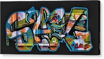Dean Russo Canvas Print - Graffiti - Happy/sad by Graffiti Girl