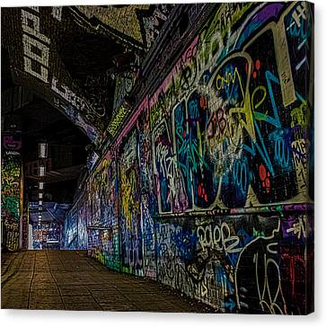 Graffiti Leake Street London Canvas Print by Martin Newman