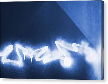 Graffiti Spray Blue Canvas Print