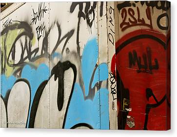 Canvas Print featuring the photograph Graffiti Writing Nyc #2 by Ann Murphy