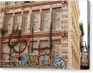 Canvas Print featuring the photograph Graffiti Writing Nyc by Ann Murphy