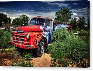 Canvas Print featuring the photograph Grafitti Fire Truck by Ken Smith