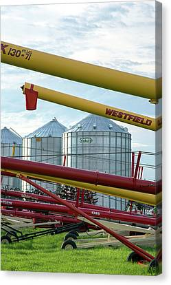 Grain Augers And Silos Canvas Print by Jim West