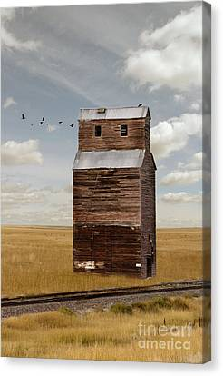 Grain Elevator By Railroad Tracks Canvas Print