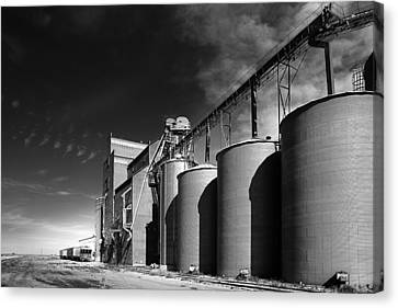 Grain Elevator Complex On Prairie Canvas Print by Donald  Erickson