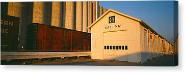 Grain Silo Railroad Station, Salina Canvas Print by Panoramic Images