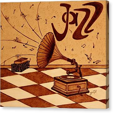 Gramophone Playing Jazz Music Painting With Coffee Canvas Print by Georgeta  Blanaru