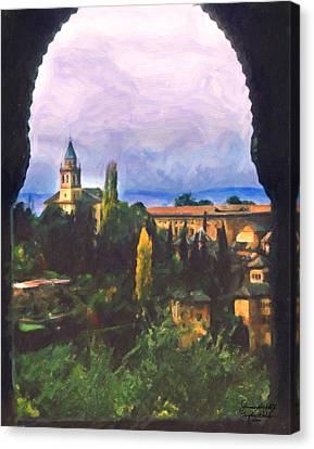 Granada Through The Keyhole Canvas Print by Spyder Webb