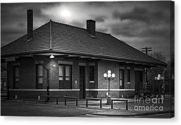 Train Depot At Night - Noir Canvas Print by Robert Frederick