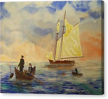 Bluenose Canvas Print - Grand Banks Fishing Circa 1875 by Rich Mason
