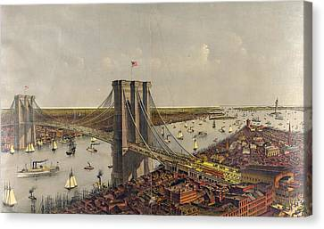 Grand Birds Eye View Of The Great East River Suspension Canvas Print by Litz Collection