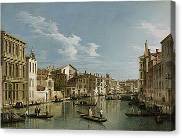 Grand Canal From Palazzo Flangini To Palazzo Bembo Canvas Print by Canaletto