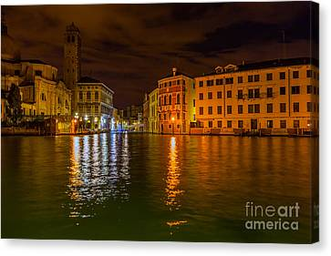 Grand Canal In Venice At Night Canvas Print by Paul Cowan