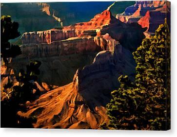 Grand Canyon At Sunset Canvas Print by Bob and Nadine Johnston