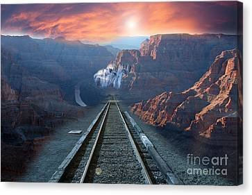 Canvas Print featuring the photograph Grand Canyon Collage by Gunter Nezhoda