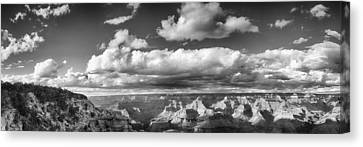Grand Canyon Mather Point In Black  And White Canvas Print