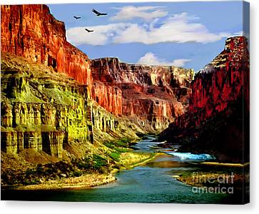 The Plateaus Canvas Print - California Condors Grand Canyon Colorado River by Bob and Nadine Johnston