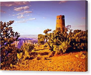 Canvas Print featuring the painting Grand Canyon National Park Golden Hour Watchtower by Bob and Nadine Johnston