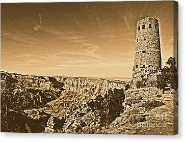 Grand Canyon National Park Mary Colter Designed Desert View Watchtower Rustic Canvas Print by Shawn O'Brien