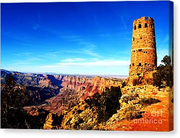 Grand Canyon National Park Mary Colter Designed Desert View Watchtower Vivid Canvas Print by Shawn O'Brien