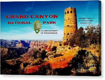 Grand Canyon National Park Poster Desert View Watchtower Retro Future Canvas Print by Shawn O'Brien