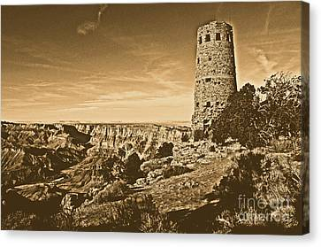 Grand Canyon National Park South Rim Mary Colter Designed Desert View Watchtower Rustic Canvas Print by Shawn O'Brien
