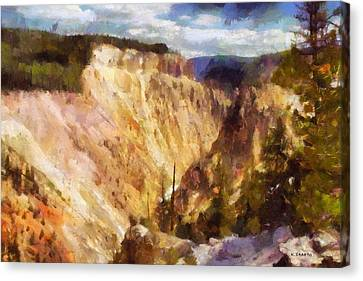 Canvas Print featuring the painting Grand Canyon Of Yellowstone 2 by Kai Saarto