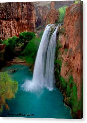 Canvas Print featuring the painting Grand Canyon Waterfalls by Bruce Nutting