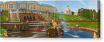 Grand Cascade Fountain In Front Canvas Print by Panoramic Images