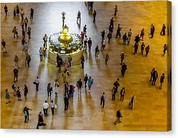 Transportation Canvas Print - Grand Central Terminal Clock Birds Eye View  by Susan Candelario