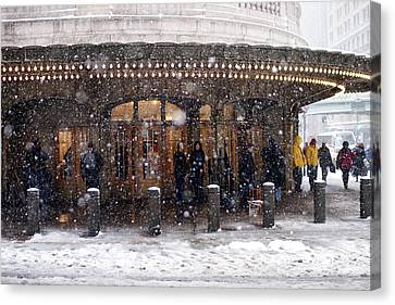 Grand Central Terminal Snow Color Canvas Print by Dave Beckerman